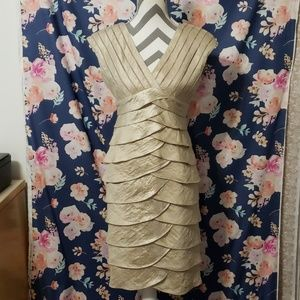 Adrianna Papell Champagne Tiered Formal Dress